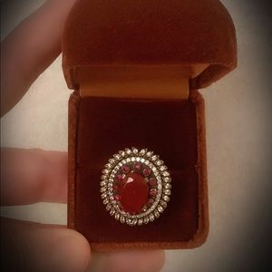 Size 8 Ruby Ring Solid 925 Sterling Silver/Gold
